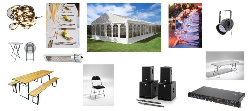 hyr produkter, allt från ljus och ljud till tält och möbler