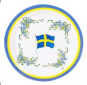 Tillbehör: Tallrik med svenska flaggan