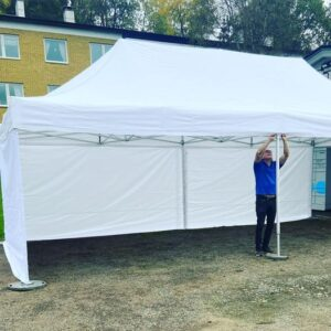 vitt pop up tält, 4x8 m2